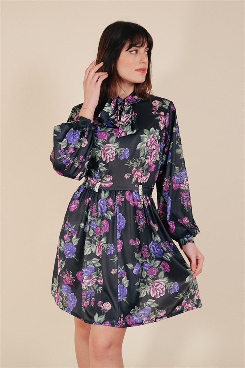 Mor Floral Elbise