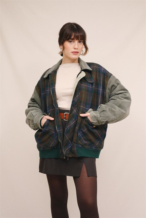 Flannel Wool Bomber Coat