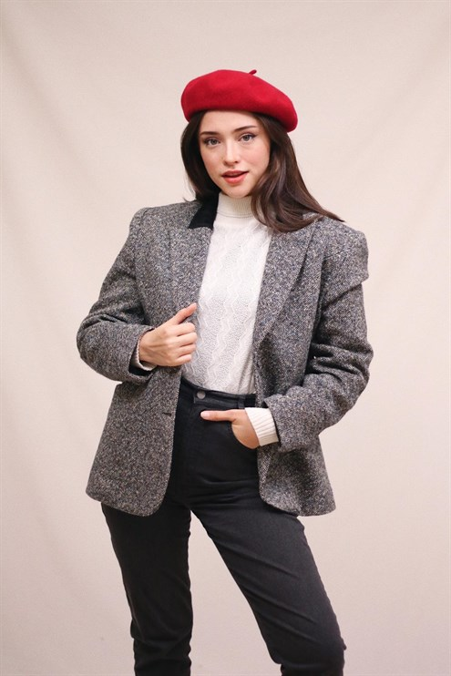 Suede Collared Wool Jacket