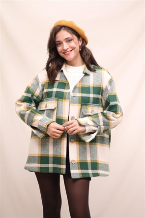 Oversize Flannel Green Jacket